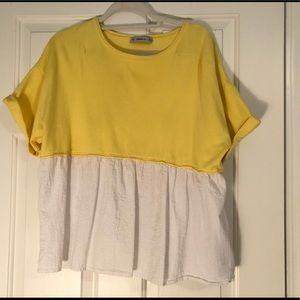 Zara yellow and white peplum top